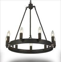 Schmiedeeisen Kronleuchter Beleuchtung Für Wohnzimmer Schlafzimmer E14 LED Vintage Wohnkultur Nordic Loft Glanz Retro Schwarz Kronleuchter