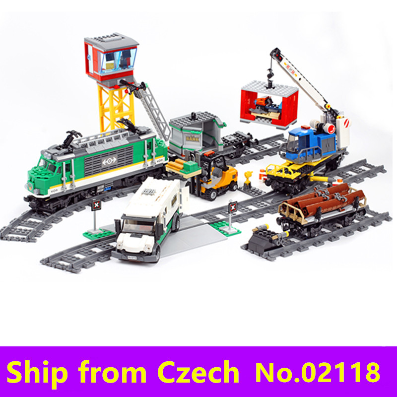 รถไฟเมือง Series 02009 02010 02039 ด้วยรีโมทคอนโทรล RC Train Building block ชุดของเล่น Technic Cargo Train 60051 อิฐ-ใน บล็อก จาก ของเล่นและงานอดิเรก บน   2