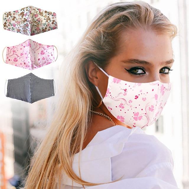 Re-usable Washable Designer Fabric Women's Face Covering Mask 3 Pack Cotton Dustproof Anime Cartoon Kpop tapabocas lavables#w