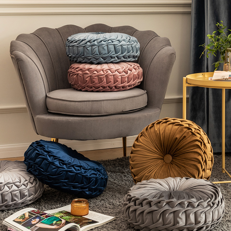 Cojín redondo de terciopelo suave, rosa y azul, Color sólido, para suelo, 40x40cm, manualidades, decoración del hogar, sofá, silla, decoración de coche