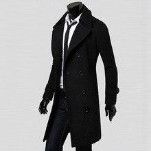 Зимние Для мужчин пальто тонкий стильный Тренч двубортная длинная куртка-парка BK/M Повседневное высокое качество осень Для мужчин s блузка, Новинка