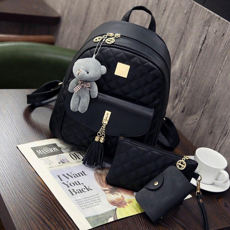3 Pcs Bear Backpack 2019 Fashion Women Bag Diamond Lattice School Bags For Girls Teenage Female Tassel Shoulder Bags Sac A Dos