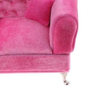 Image 4 - 1/6 Schaal Poppen Roze Dubbele Couch Lange Bank Model Action Figure Poppen Sofa Meubels Accessoires