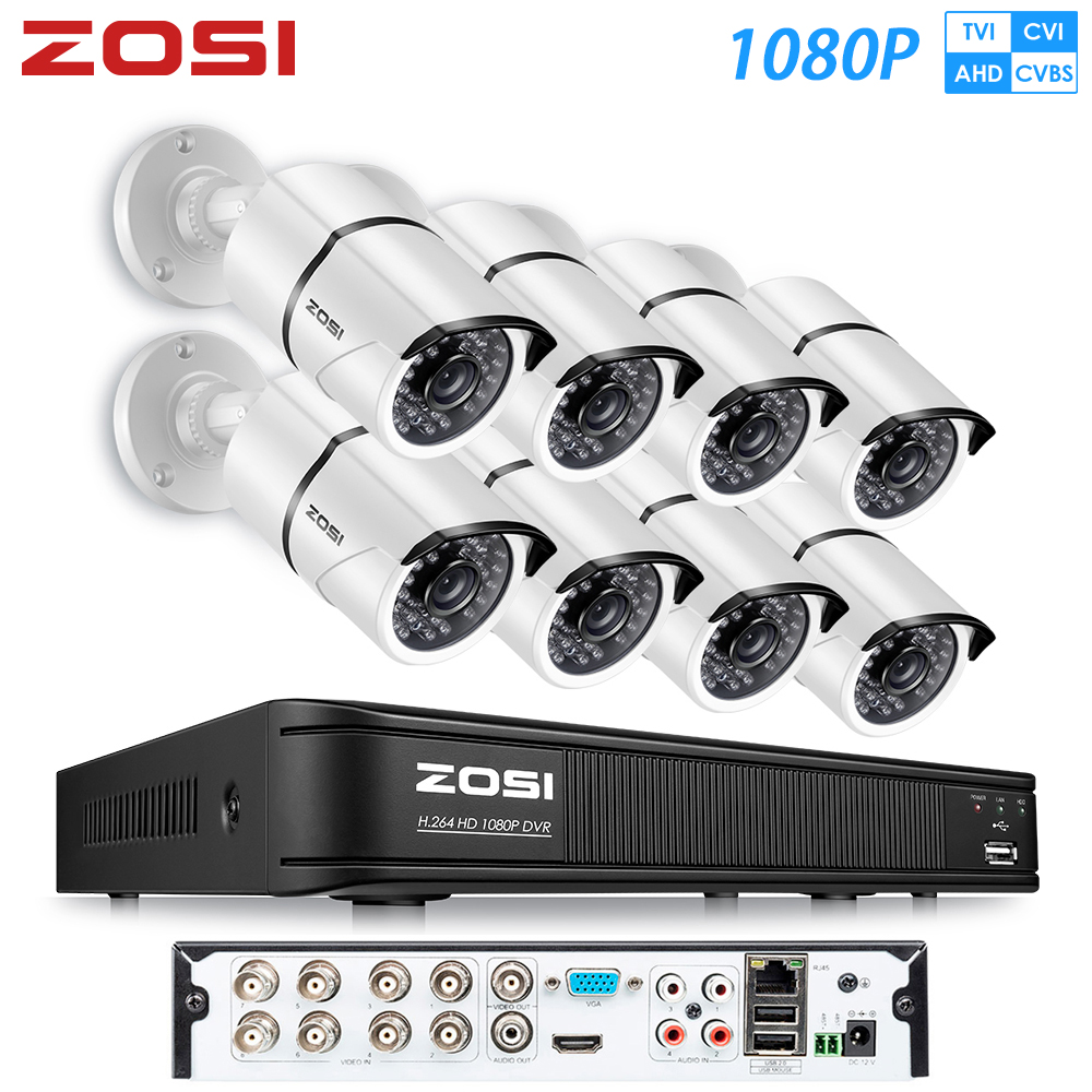 ZOSI HD 8CH 1080P 2,0 MP Sicherheit Kameras System 8*1080P Indoor/Outdoor Nachtsicht CCTV home Security System Überwachung Kit