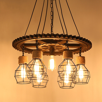 American Loft retro industrial light coffee bar restaurant chandelier hemp rope gear pendant lamp e27 kitchen light fixtures