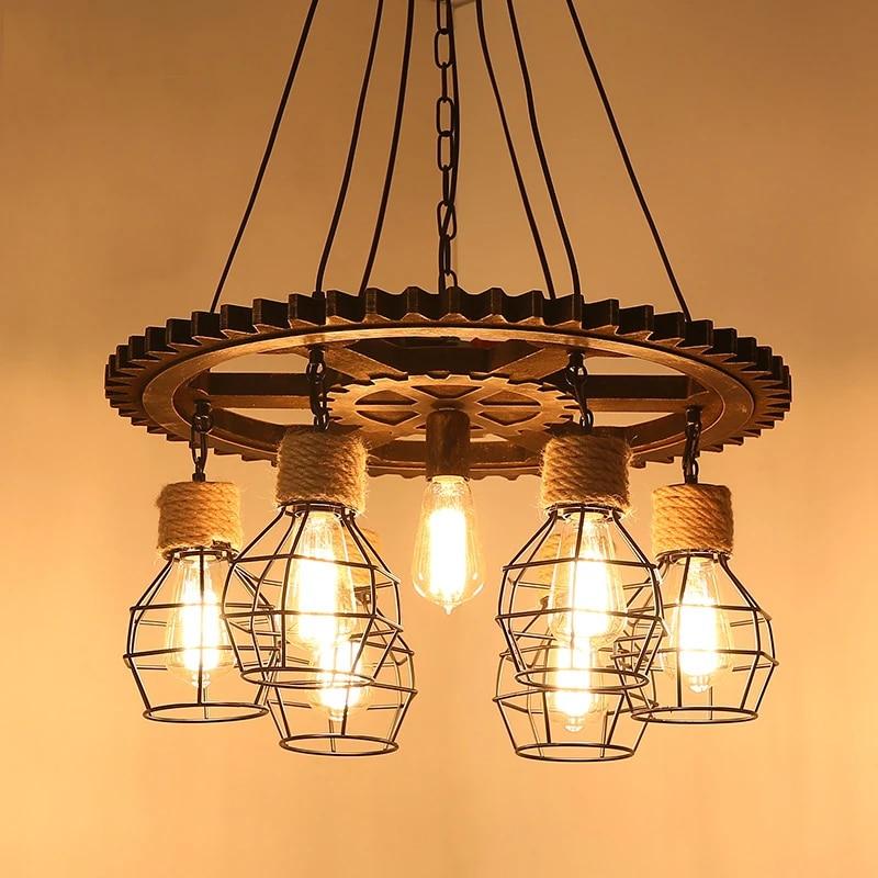 E27 Vintage Retro Industrial  Hemp Rope Hand-woven Pendant Ceiling Light Lamp