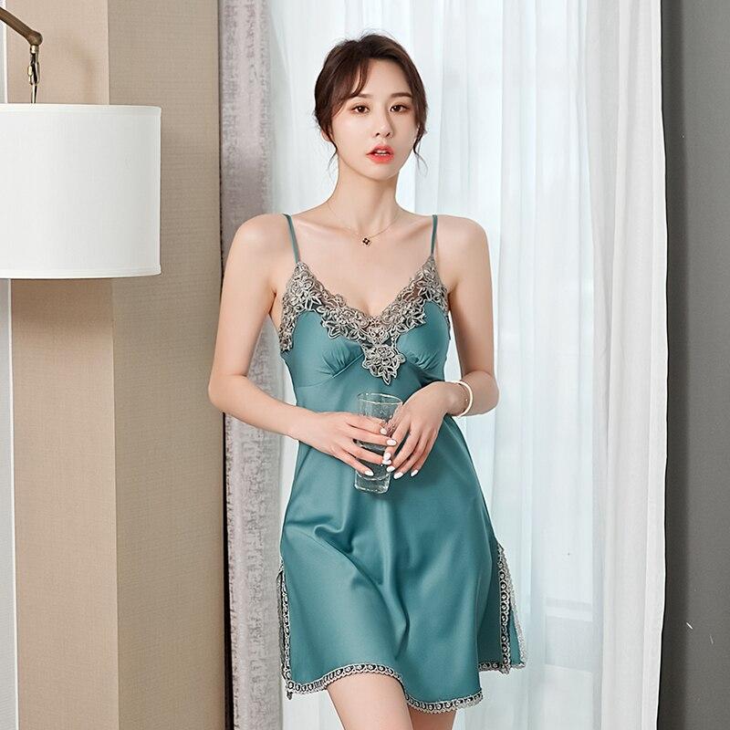 Silky Spaghetti Strap Nightgown Kimono Bathrobe Gown Satin Lady Nightdress Intimate Lingerie Sexy Nightwear Sleepwear Homewear|Nightgowns & Sleepshirts|   - AliExpress