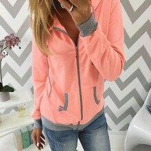 2019 autumn womens hoody zipper cardigan sweatershirt casual long-sleeved hooded