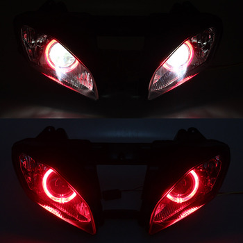 Custom Headlight HID Projector Conversion Headlamp LED Red Angel Eyes Assembly For Yamaha YZF R6 lighting Accessories 2008-2015 image