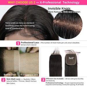 Image 2 - Ali peruka perłowa proste włosy ludzkie 3 zestawy z 5x5 zamknięcia brazylijski włosy wyplata 3 wiązki Remy do przedłużania włosów Ali peruka perłowa