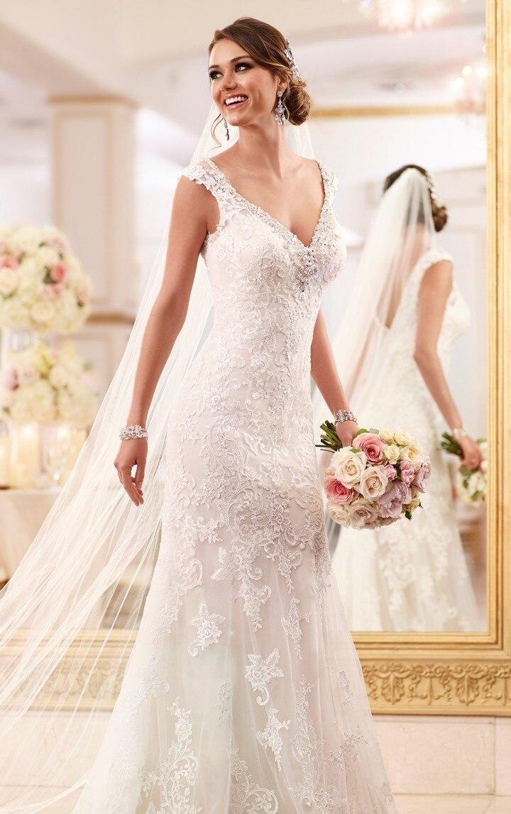 Vestidos De Noiva V Neck A Line Lace Wedding Dresses Applique Backless Off Shoulder Floor Length Bridal Gowns YH117