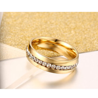 Vnox-anillo de compromiso de acero inoxidable para mujer, sortija de boda de cristal de color dorado clásico, 6mm