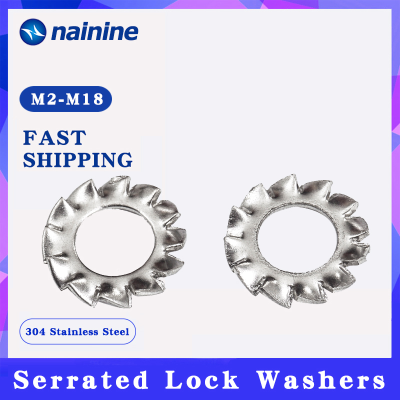 [M2-M30] DIN6798A 304 Stainless Steel Washers External Toothed Gasket Serrated Lock Washer HW051
