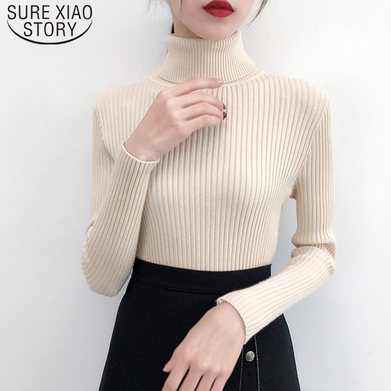2019 Spring Autumn Winter Women Sweater Solid Turtleneck Female Casual Pullover Full Sleeve Warm Soft Knitted Ladyoffice 6033 50