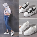 Spring new basic white shoes student flat running board shoes women's Korean lace up thick soles