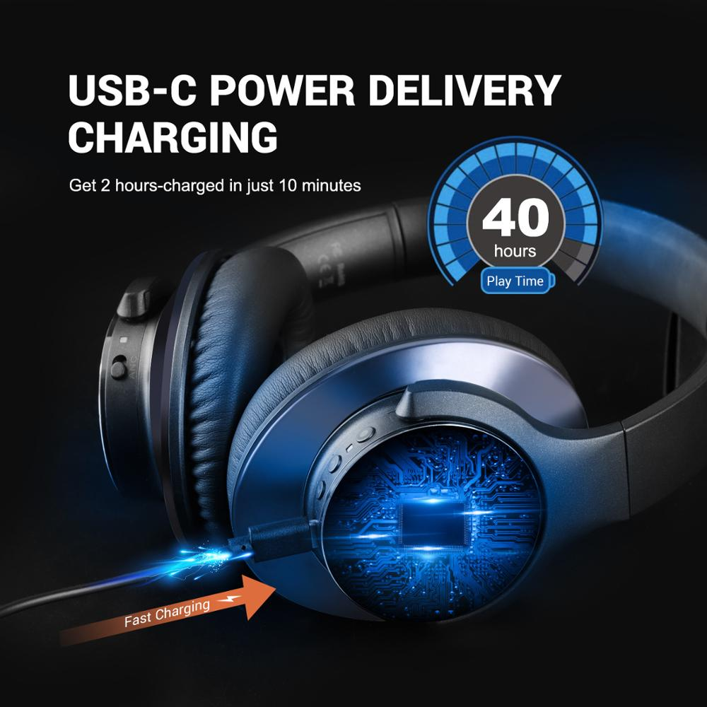 lowest price Oneodio A10 Active Noise Cancelling Wireless Bluetooth Headphones 40Hrs Bluetooth 5 0 Headset With Microphone Fast Charging AAC