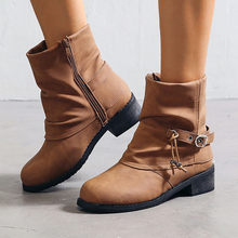 Pure Color Round Toe Zipper Buckle Strap Boots sexy Ladies Square Puppy Heels Vintage Mid-calf Martin Boots Fashion Women Boots(China)