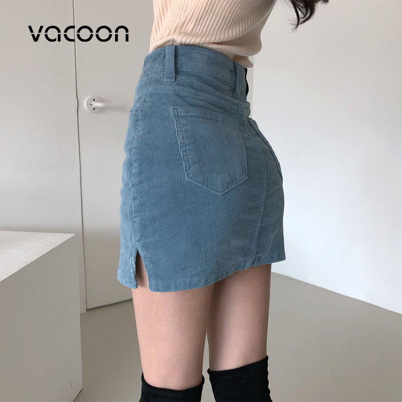 Korean Woman Fashion Skirt Solid Color Pencil Skirt  Package Hip High Waist Women Clothing