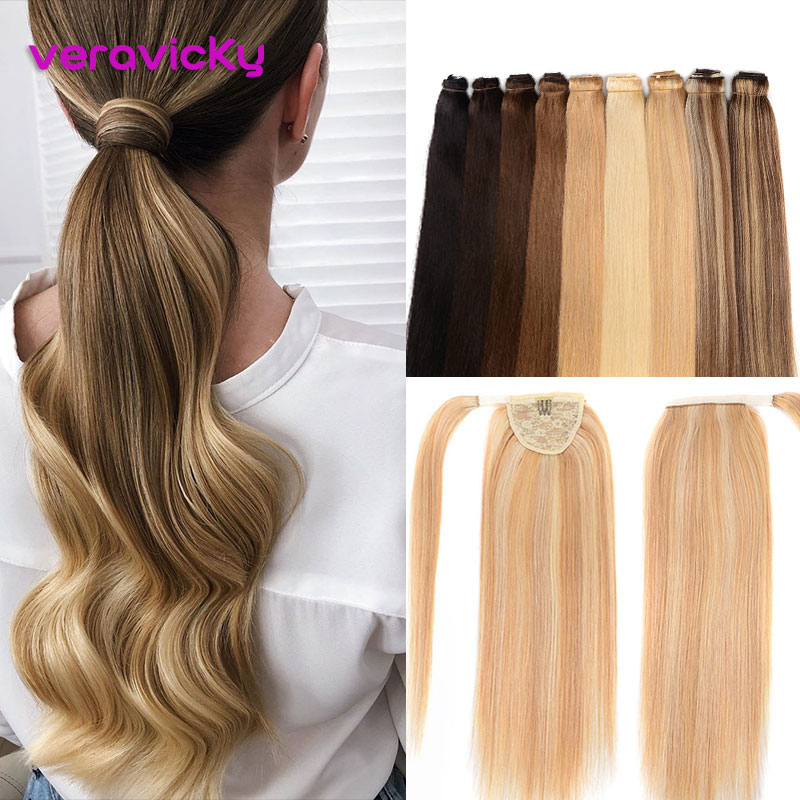 Brazilian Natural Human Hair Balayage Ponytail Extensions 1 Piece Machine Made Remy Blonde Real Human Hair Pony Tail Clip Ins