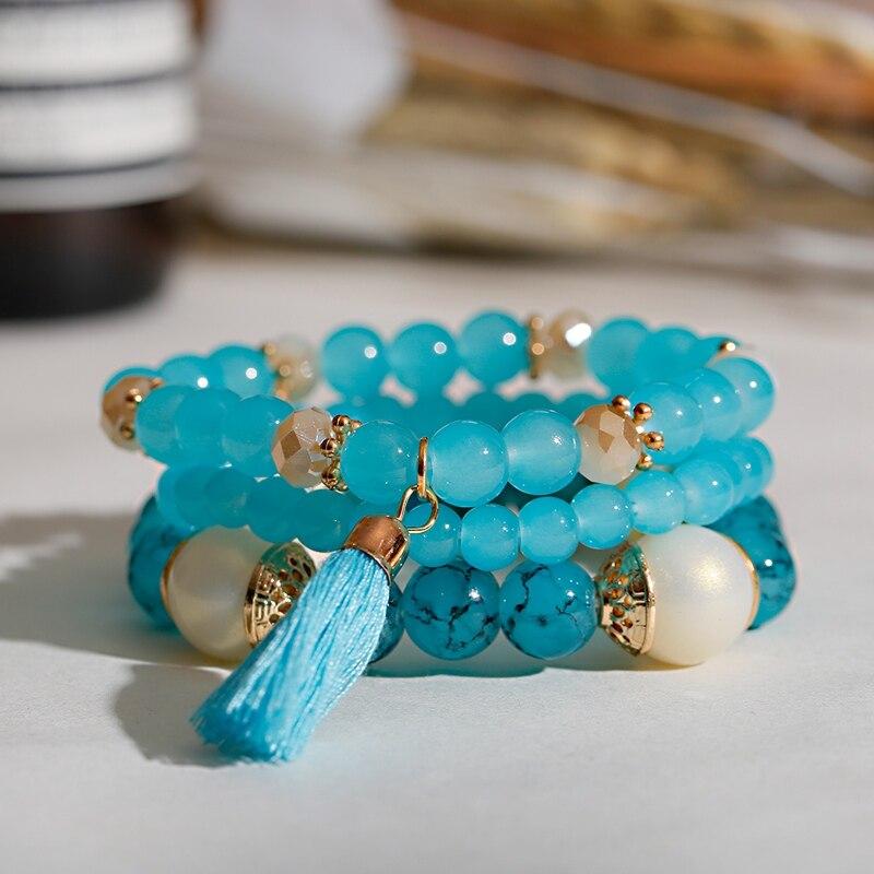 Женский браслет с бусинами Boho, Этнические браслеты с подвесками и подвесками, винтажные ювелирные изделия