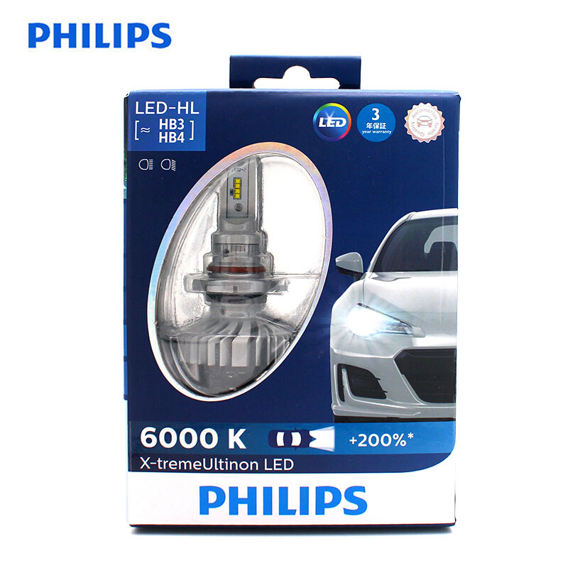 <font><b>Philips</b></font> <font><b>LED</b></font> H4 <font><b>H7</b></font> H8 H11 H16 9005 9006 X-treme Ultinon <font><b>LED</b></font> Car <font><b>Headlight</b></font> Fog Lamps 6000K Cool White +200% Brighter Bulbs,X2 image