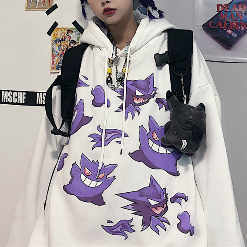 Hoodies Women Men Couple Street Cartoon Monster Print Loose Warm Sweatshirt Autumn Winter Hooded Pullover Sweatshirt Unisex Top