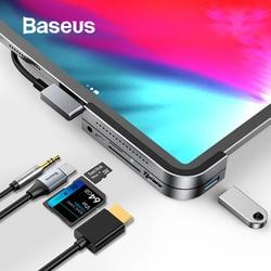 Baseus USB C HUB إلى USB 3.0 HDMI USB HUB لباد برو نوع C محور لجهاز كمبيوتر ماك بوك برو محطة الإرساء متعدد 6 منافذ USB نوع-C HUB