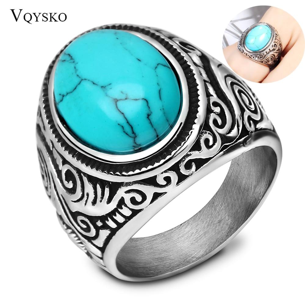 Wholesale Retro jewelry titanium steel inlaid black onyx ring men domineering  ring 1