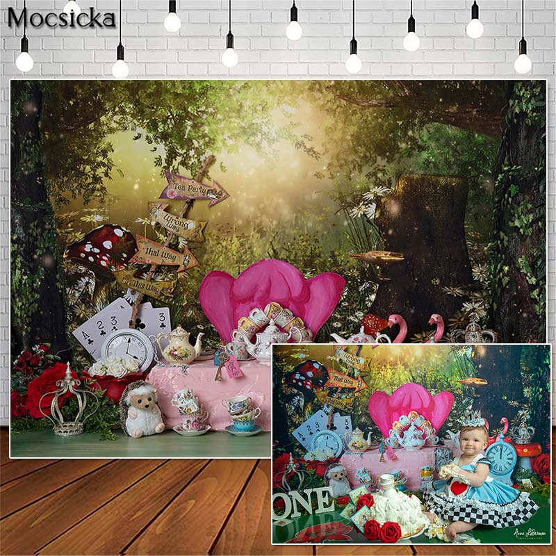 Mocsicka Wonderland Tea Party Cake Smash Photography Backdrops Princess Girl Birthday Photo Props Studio Booth Background