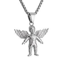 Angel Pendant Necklace Hip Hop titanium Steel necklace for men women Silver Color Chain Fashion Jewelry stylish solid color chain necklace for men