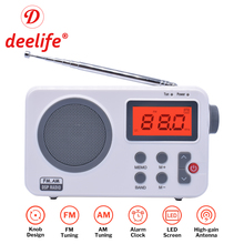 Radio-Receiver Alarm-Clock Transistor Telescopic-Antenna Digital Deelife Portable Am Fm