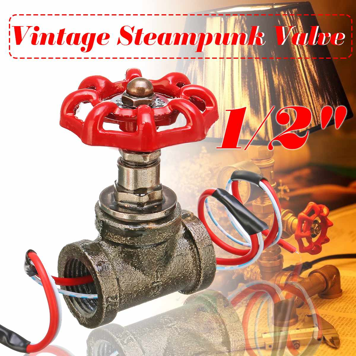 1PCS 1/2 Inch Stop Valve Light Vintage Steampunk Switch With Wire For Water Pipe Lamps Lamp Loft Style Iron Valve Vintage Lamp