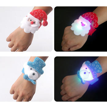 Christmas Patting Circle Bracelet Watch Christmas Children Gift Santa Claus Snowman Deer New Year Party Toy Wrist Decoration image