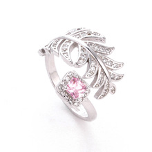 Fashion 925 Sterling Silver Ring for Women Temperament Micro-encrusted Zircon Leaf-shap Opening Rings Lady Birthday Gift