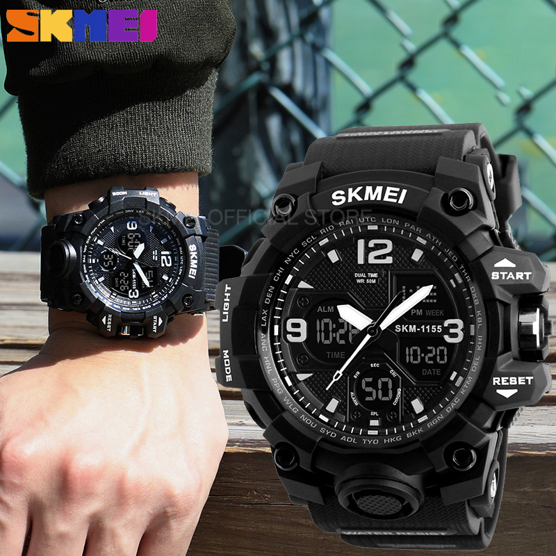 SKMEI Sports-Watches Shockproof Digital 1155B Men Fashion Chrono 2-Time Reloj for 2-time/Chrono/Male/..