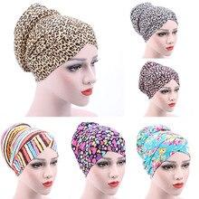 Turbante musulmán para mujer, sombrero de quimioterapia con disco trasero, gorro de algodón con estampado Floral, hiyab, Bandage para el interior