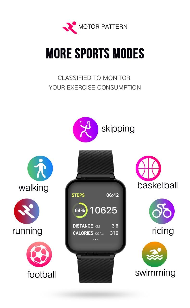 B57 smart watch waterproof heart rate monitor blood pressure  sport Women smartwatch women wearable watch men smart clock PK Q9