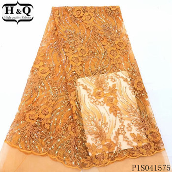 H&Q fashion french net lace fabric 2020 high quality embroidered nigerian tulle fabrics african sequins laces for dress sewing