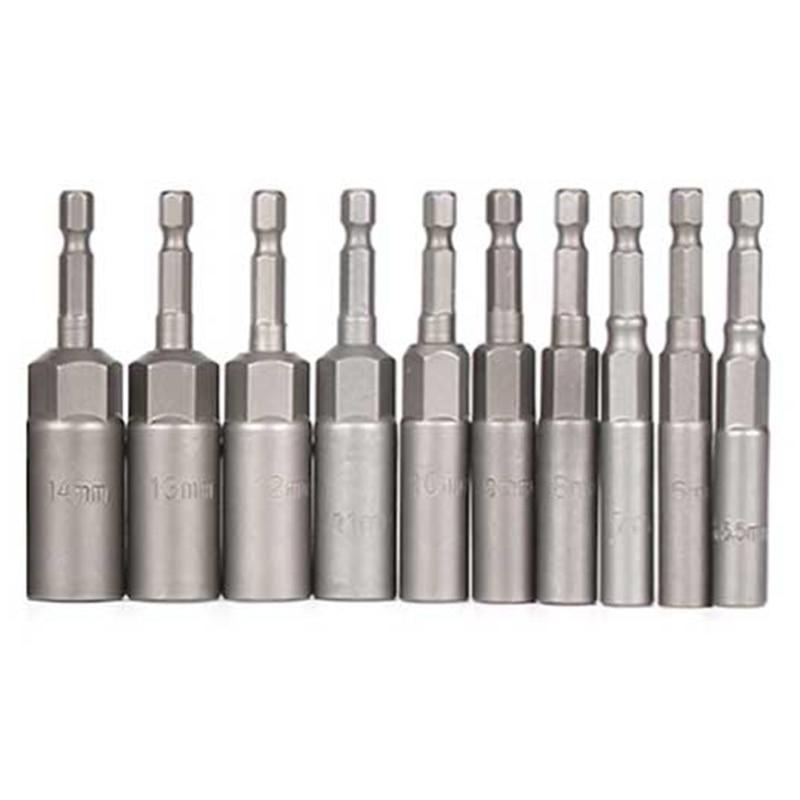 10Pc 1/4 Inch Wrench Hex Bit Socket Set Deep Long 1/2 Inch Impact Drill Socket Adapter Drill Bits