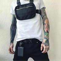 Małe Hip Hop Streetwear kamizelka wojskowa torba w klatce piersiowej dla mężczyzn funkcjonalne talii pakiety regulowany kieszenie kamizelka mody klatki piersiowej Rig