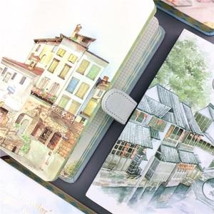 Image 2 - Małe świeże konto ręczne 32K kolor strona klamra magnetyczna zeszyt gładki powlekany boczny konto podróży 3 piękne miasto