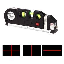 Multipurpose Level Laser Horizon Vertical Measure Tape Aligner Bubbles Ruler w/ Aluminum Tripod Stand Black