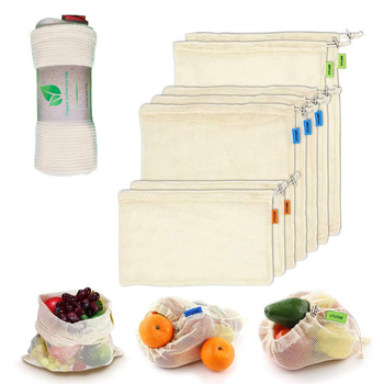9/12pcs vegetable fruit bag,storage bag Reusable Produce Bags,Eco-Friendly,100% Organic Cotton Mesh Bags,Bio-degradable Kitchen 1