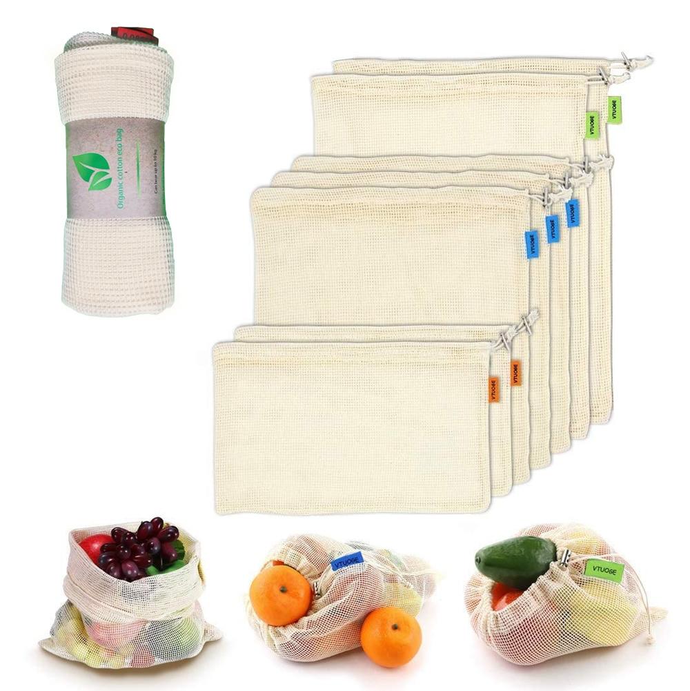 9/12pcs Vegetable Fruit Bag,storage Bag Reusable Produce Bags,Eco-Friendly,100% Organic Cotton Mesh Bags,Bio-degradable Kitchen