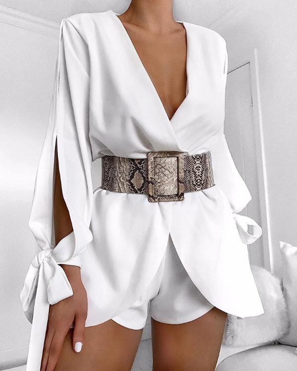 2019 Autumn Women Elegant Casual White Playsuit Female Workwear OL V-Neck Solid Plunge Billowing Split Sleeve Tied Romper