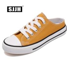 SJJH Women Canvas Skateboarding Shoes Slippers Comfortable Sneakers Ladies Vulcanize Casual Chaussure Footwear D221