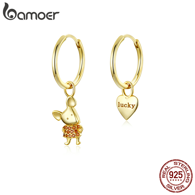 Bamoer Gold Color Sterling Silver 925 Mouse Year Hoop Earrings Heart Dangle For Women Jewelry Pendientes 2020 New BSE344