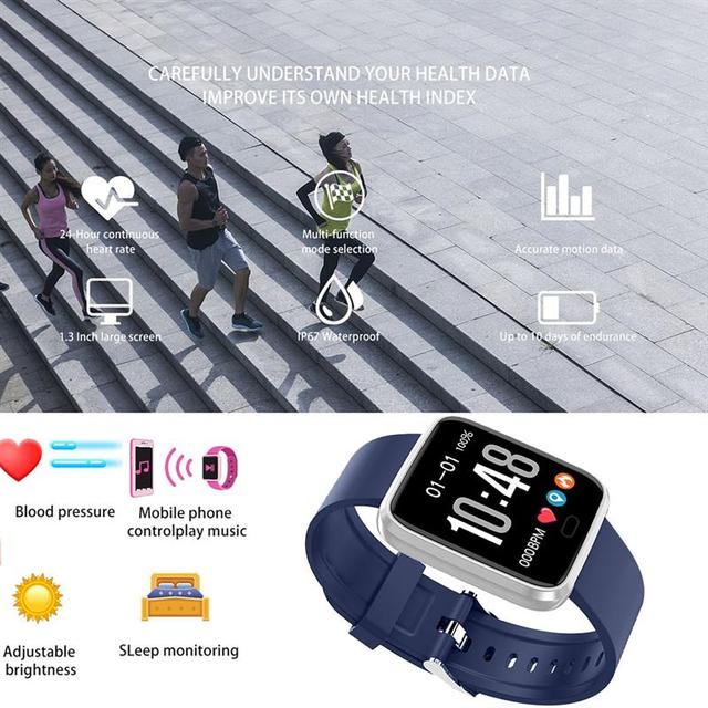 New Bluetooth Smart Watch Fitness Tracker with Heart Rate Blood Pressure Detector Waterproof Sleep Bracelet, Blue/Red/Black 4