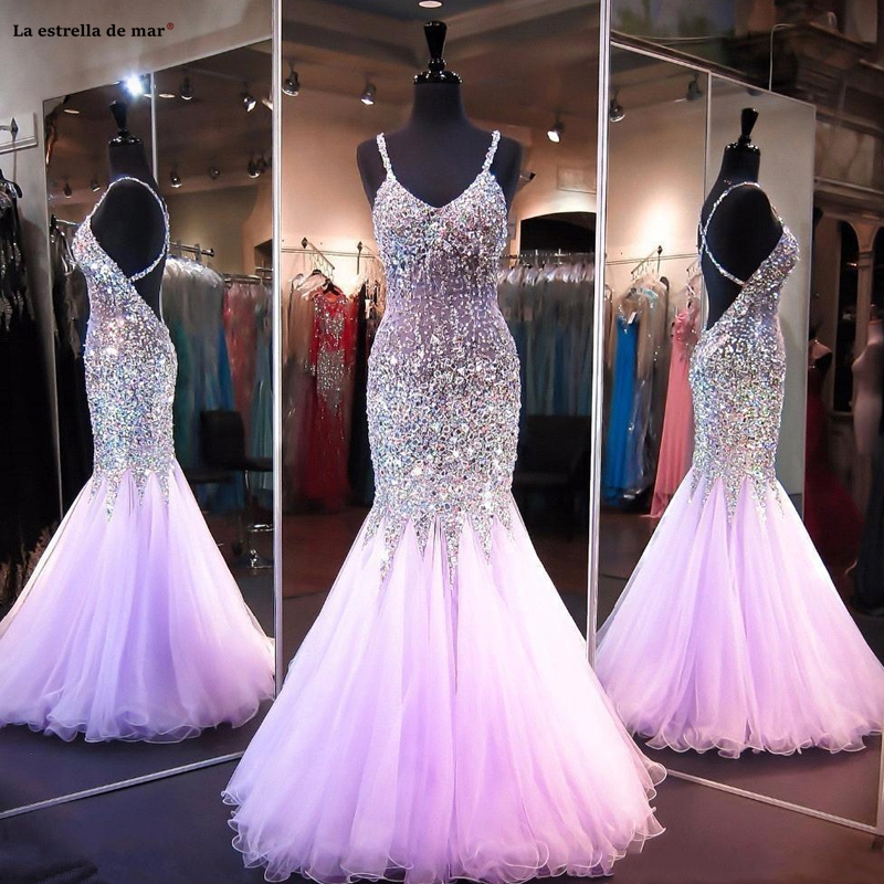 Vestidos De Gala New Tulle Crystal Luxury Sexy V Neck Spaghetti Strap Lilac Champagne Peach Pink Prom Dresses Long Gala Jurk