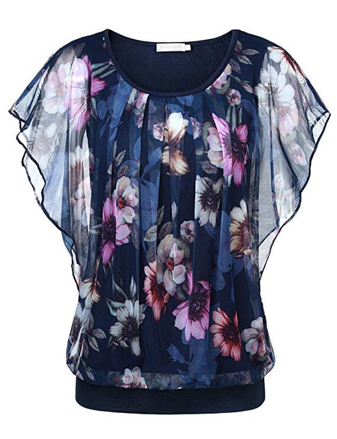 Women Blouse Plus Size Tops Flower Printing O Neck Flare Short Sleeve Casual Top Double Layer Tops Ladies Blouse